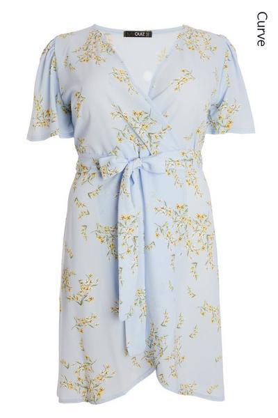 Curve Blue Floral Wrap Midi Dress